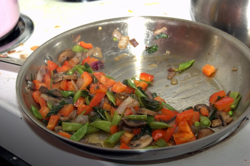 We were too busy eating to document. Here's a picture of sauteed vegetables from our pasta instead.