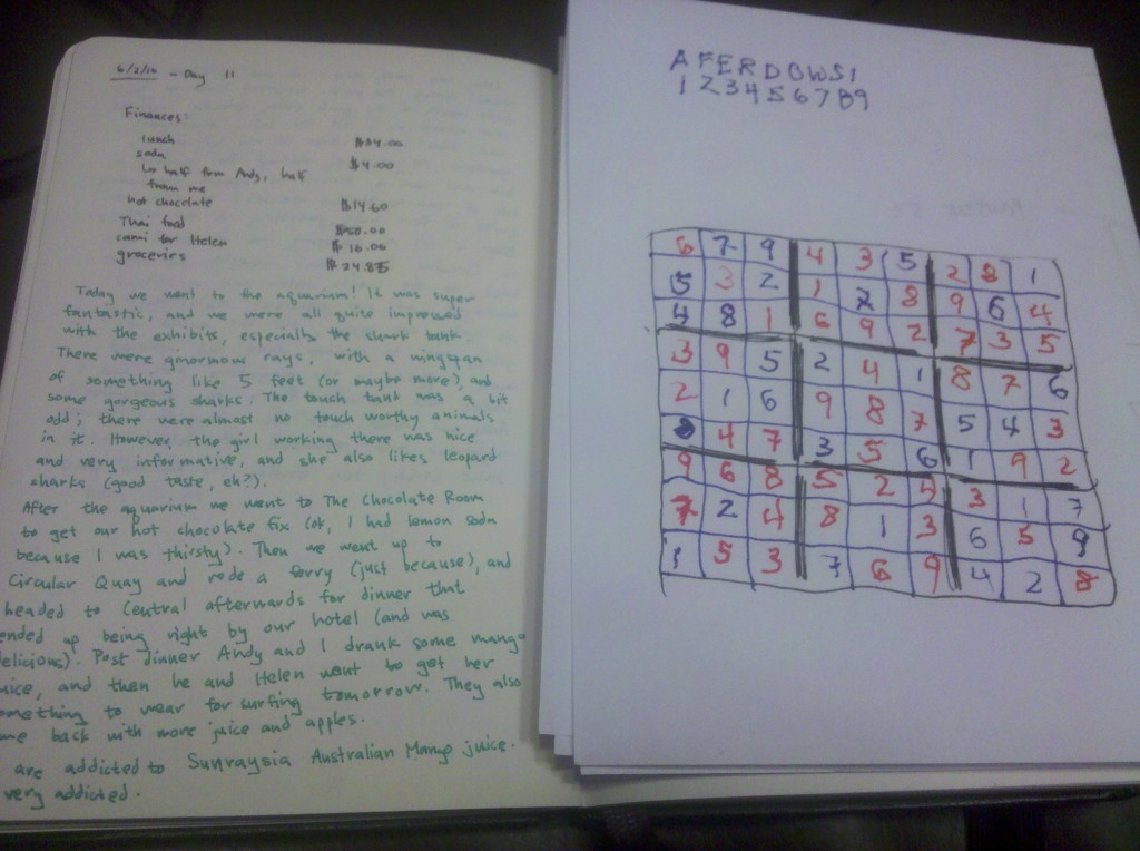 Compare my Sudoku puzzle to one of my notebook entries (notes from my trip to Sydney for the OCEANS'10 conference, if you're wondering). However, there were no injuries so I'm going to count this as a victory.