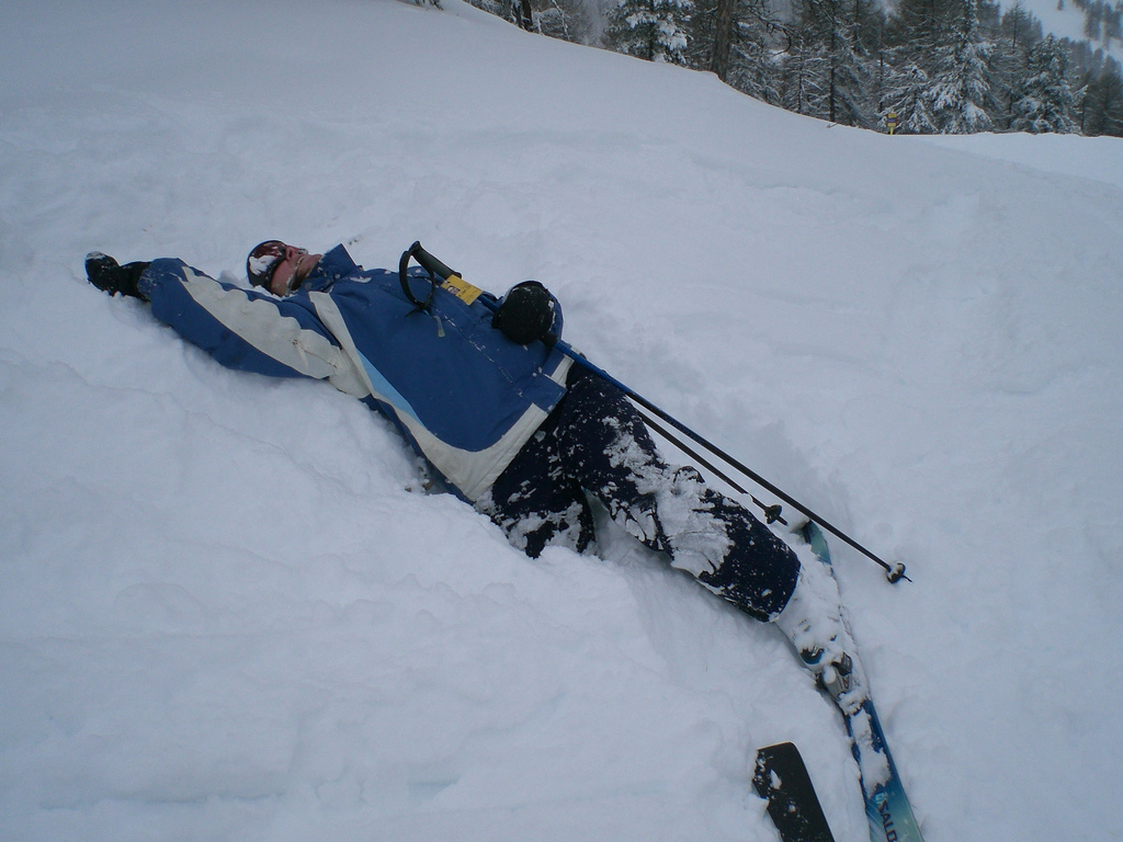Ellen spent a lot of time looking like this. Especially the part where she crashed hard enough to knock her skis off. (photo courtesy of michellebflickr on Flickr)