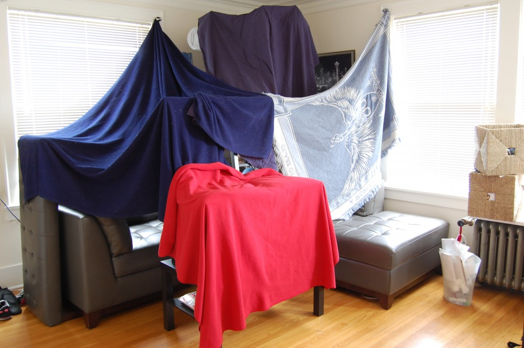Our final blanket fort! It's pretty awesome inside.